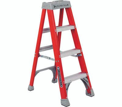 Louisville Ladder FS1504 Step Ladder, 102 in Max Reach H, 3-Step, 300 Pound, Type Ia Duty Rating, 3 in D Step, Fiberglass