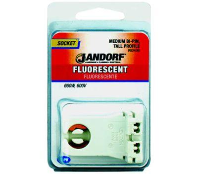 Jandorf 60496 Socket Fluorescent Medium Bi-Pin Tall Profile