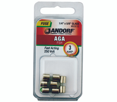 Jandorf 60616 3 Amp AGA Fast Acting Glass Fuses 4 Pack