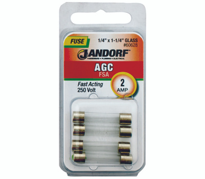Jandorf 60628 2 Amp AGC Fast Acting Glass Fuses 4 Pack