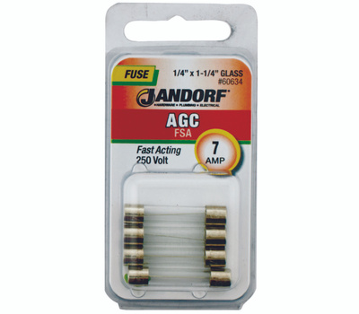 Jandorf 60634 7 Amp AGC Fast Acting Glass Fuses 4 Pack