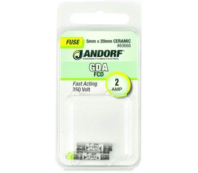 Jandorf 60666 2 Amp GDA Fast Acting Ceramic Fuses 2 Pack
