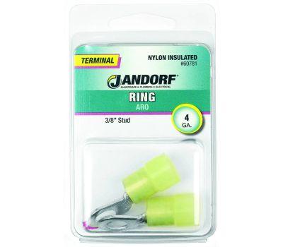 Jandorf 60781 Terminal Ring Nylon Insulated 3/8 Inch Stud Wire Gauge 4