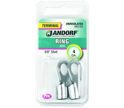 Jandorf 60783 Terminal Ring Nylon Uninsulated 3/8 Inch Stud Wire Gauge 4
