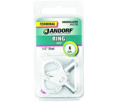 Jandorf 60786 Terminal Ring Nylon Uninsulated 1/2 Inch Stud Wire Gauge 6