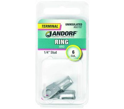 Jandorf 60787 Terminal Ring Nylon Uninsulated 1/4 Inch Stud Wire Gauge 6