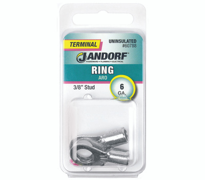 Jandorf 60788 Terminal Ring Nylon Uninsulated 3/8 Inch Stud Wire Gauge 6