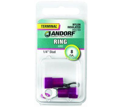 Jandorf 60789 Terminal Ring Nylon Insulated 1/4 Inch Stud Wire Gauge 8