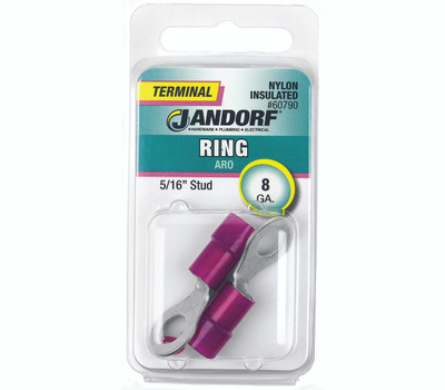 Jandorf 60790 Terminal Ring Nylon Insulated 5/16 Inch Stud Wire Gauge 8