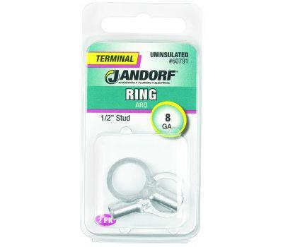 Jandorf 60791 Terminal Ring Nylon Uninsulated 1/2 Inch Stud Wire Gauge 8