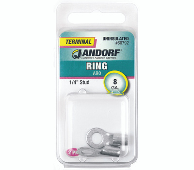 Jandorf 60792 Terminal Ring Nylon Uninsulated 1/4 Inch Stud Wire Gauge 8