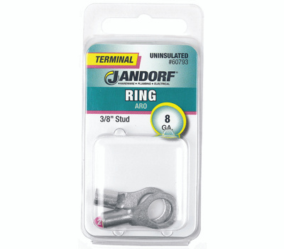 Jandorf 60793 Terminal Ring Nylon Uninsulated 3/8 Inch Stud Wire Gauge 8