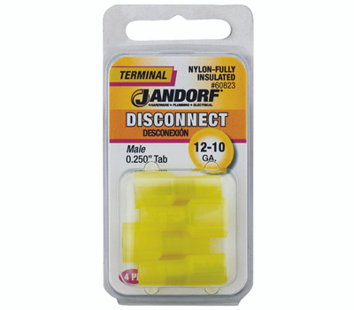 Jandorf 60823 Disconnect Male.25 Inch Tab Nylon Insulated Wire Gauge 12-10
