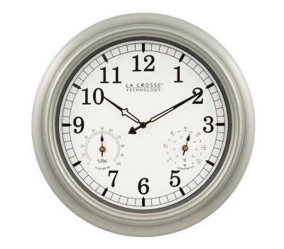 La Crosse WT-3181PL-Q Analog Clock Quartz Indoor/Outdoor 18 Inch