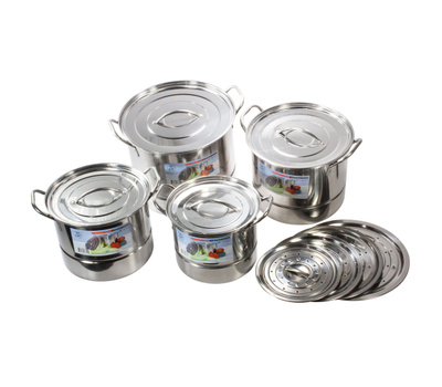 Royal Manufacturers ROY48207 Stainless Steel Steamer Pot 4 Piece Set With Vented And Closed Lids