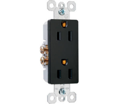 Pass & Seymour 885BKCC12 15 Amp Black 2P Deco Outlet