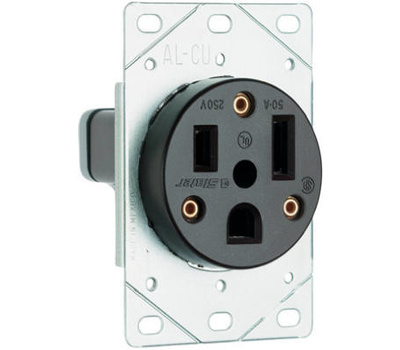 Pass & Seymour 3804CC6 50 Amp Black 2 Pole 3 Wire Grounding Flush Mount Power Outlet