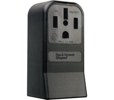 Pass & Seymour 3854CC6 50 Amp Black 3 Pole 4 Wire Grounding Surface Mount Range Outlet