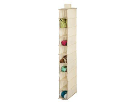 Honey Can Do SFT-01254 10 Shelf Hanging Shoe Organizer Natural Color