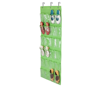 Honey Can Do SFT-02819 24 Pocket Hanging Shoe Organizer Lime Green