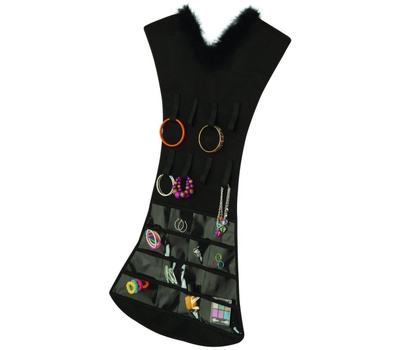 Honey Can Do SFT-03618 Dress Hanging Jewelry Organizer Black 32 Pockets 16 Loops