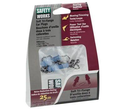 Safety Works SWX00231-01 Swx00231 Ear Plug, 25 Db Nrr, Tri-Flange, Plastic Ear Plug, Blue Ear Plug