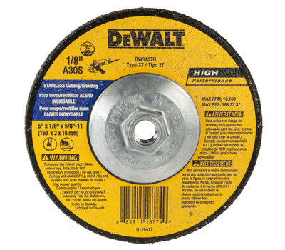 DeWalt DW8457H 6 X 1/8 X 7/8 Inch Stainless Steel Cutting Wheel