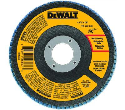 DeWalt DWA8208 Flap Disc, 4-1/2 in Dia, 7/8 in Arbor, Coated, 80 Grit, Medium, Zirconium Oxide Abrasive
