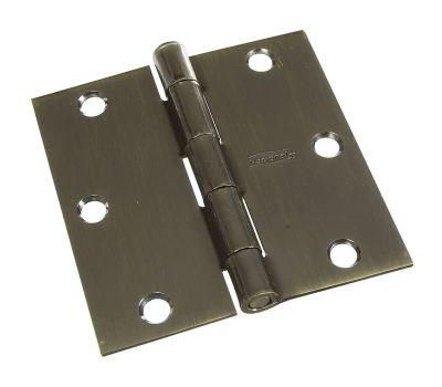National Hardware N830-176 Door Hinge 3-1/2 Inch Square Corner Antique Brass