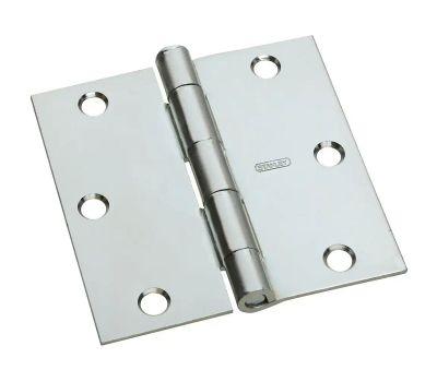 National Hardware N830-194 Door Hinge 3-1/2 Inch Square Corner Zinc Plated Steel
