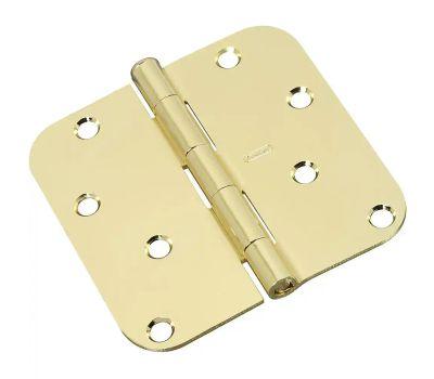 National Hardware N830-207 Door Hinge 4 Inch 5/8 Radius Polished Brass