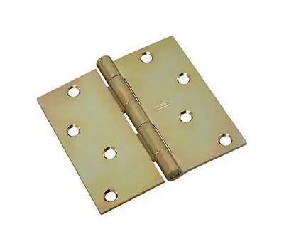 National Hardware N830-267 Door Hinge 4 Inch Square Corner Brass Tone