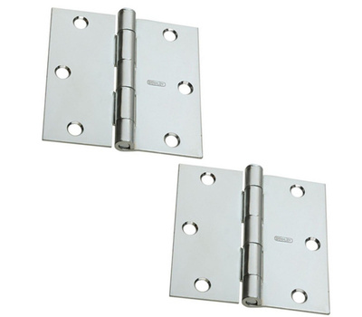 National Hardware S081-050 Stanley Door Hinges 3 Inch Square Corner Zinc Plated 2 Pack