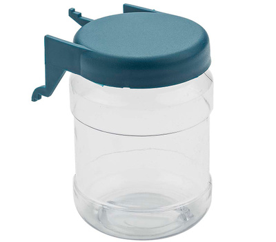 National Hardware N112-064 Pegboard Hook Small Parts Organizer Clear Jar Blue Lids 2 Pack